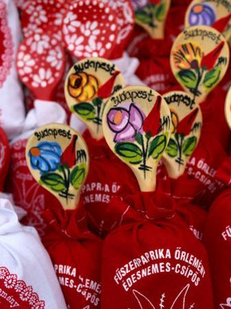 Souvenir Bags of Paprika with Spoons for Sale, Budapest, Hungary