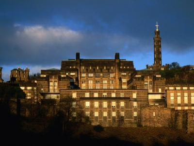 St Andrew's House and Monuments on Calton Hill, Edinburgh, United Kingdom