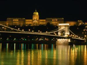 The Szechenyi Chain Bridge and the Royal Palace at Night, Budapest, Hungary by Jonathan Smith