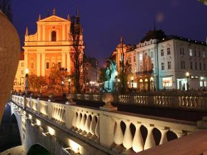 Triple Bridge with Presernov Trg in Background, Ljubljana, Slovenia by Jonathan Smith