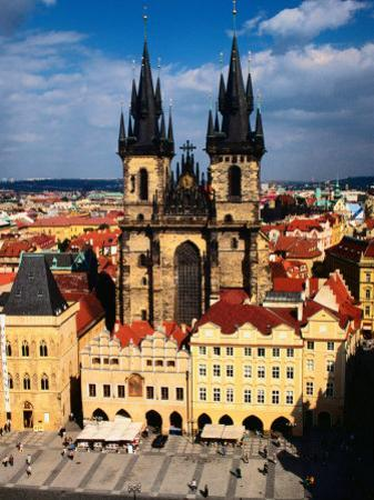 Tyn Church and Old Town Square Seen from Old Town Hall, Prague, Czech Republic