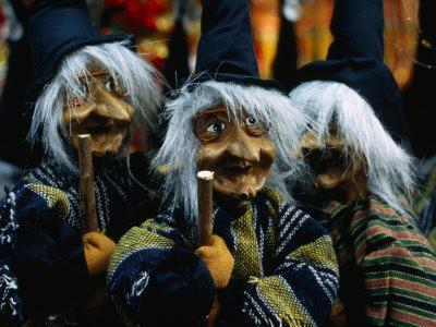 Witch Puppets or Dolls at the Christmas Fair on the Piazza Navona, Rome, Italy