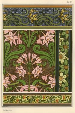 Jonquil, Narcissus jonquilla, as design motif in wallpaper and fabric patterns