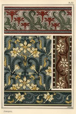 Jonquil, Narcissus jonquilla, as design motif in wallpaper and fabric patterns.