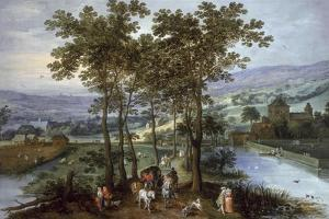 Spring, a Landscape with Elegant Company on a Tree-Lined Road by Joos de Momper and Jan Brueghel