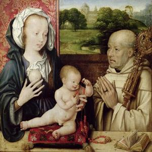 The Virgin and Child Worshipped by St.Bernard (Detail) by Joos Van Cleve