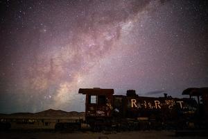 Einstein's Theory of General Relativity Written on an Old Locomotive. the Milky Way Overhead by Jordi Busque