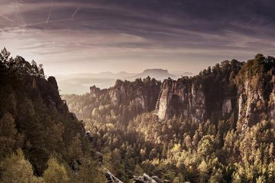 View to the Schrammsteinen of the Bastei