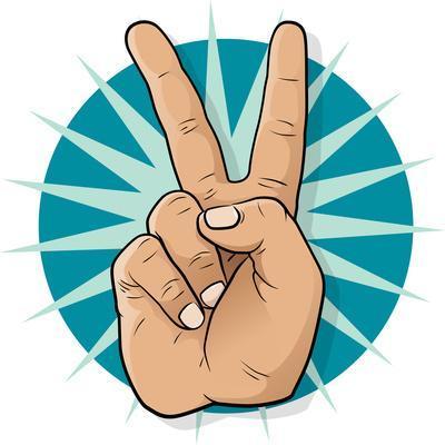 Pop Art Victory Hand Sign