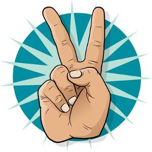Pop Art Victory Hand Sign by jorgenmac