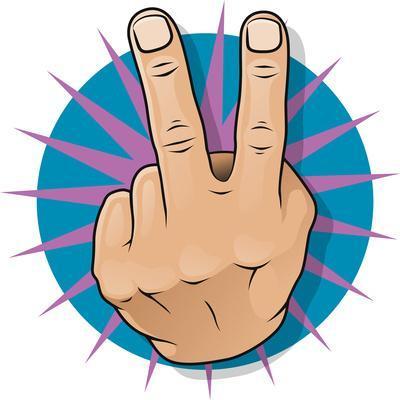 Vintage Pop Two Fingers Up Gesture