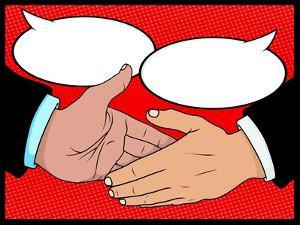 Vintage Style Comic Book Handshake with Speech Bubbles by jorgenmac