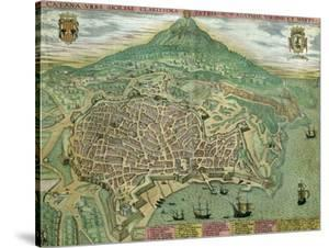 "Map of Catania, from ""Civitates Orbis Terrarum"" by Georg Braun and Frans Hogenberg, circa 1572 by Joris Hoefnagel"