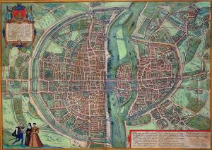"Map of Paris, from ""Civitates Orbis Terrarum"" by Georg Braun and Frans Hogenberg, circa 1572 by Joris Hoefnagel"