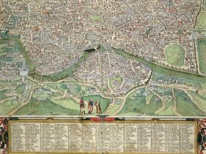 "Map of Rome, from ""Civitates Orbis Terrarum"" by Georg Braun and Frans Hogenberg circa 1572-1617 by Joris Hoefnagel"