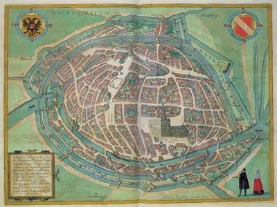 Map of Strasbourg, from Civitates Orbis Terrarum by Georg Braun by Joris Hoefnagel