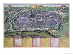 "Map of Vienna, from ""Civitates Orbis Terrarum"" by Georg Braun and Frans Hogenberg circa 1572-1617 by Joris Hoefnagel"