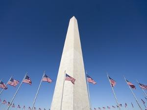 Washington Monument surrounded by American flags by Jos? Fuste Raga