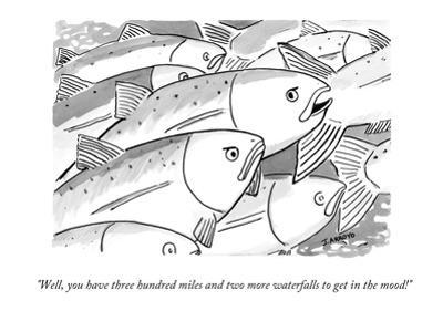 """""""Well, you have three hundred miles and two more waterfalls to get in the …"""" - New Yorker Cartoon"""