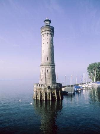 Harbour entrance with lighthouse of Lindau at the Lake Constance (Bavaria, Germany)