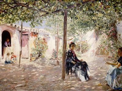 Ladies in a Sun-Dappled Courtyard