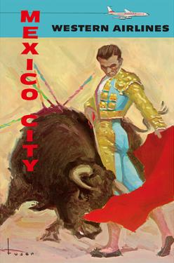 Mexico City - Bullfight Matador - Western Air Lines by José Maria Tuser Vázquez
