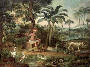Native Indian in a Landscape with Animals by Jose Teofilo de Jesus