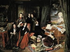 Liszt at the Piano by Josef Danhauser