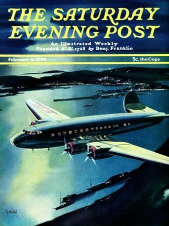 """Night Flight,"" Saturday Evening Post Cover, February 4, 1939"