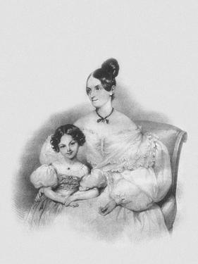 Portrait of Olga Narychkina (Potock) with their Daughter Sophie (1802-186), 1835 by Josef Kriehuber