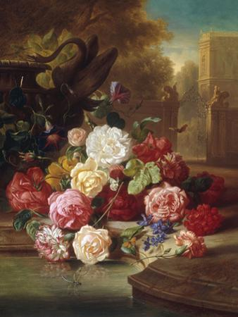 Still Life with Roses, Carnations and a Bohemian Castle in the Background, 1868