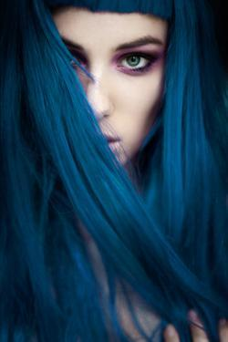 Young Adult Female with Bold Eye Shadow And Long Blue Hair by Josefine J??nsson