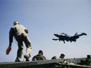 A Fighter Plane Lands Onboard an Aircraft Carrier by Joseph Baylor Roberts