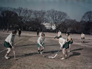 George Washington University Women Play Field Hockey on the Ellipse by Joseph Baylor Roberts