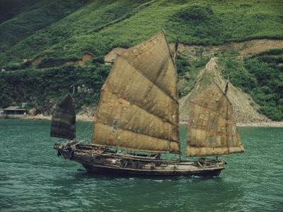 View of a Chinese Fishing Junk on the Pearl River Enroute to Macao from Hong Kong by Joseph Baylor Roberts