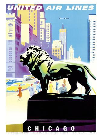 Chicago, USA - Bronze Lion Statues - Art Institute of Chicago - United Air Lines