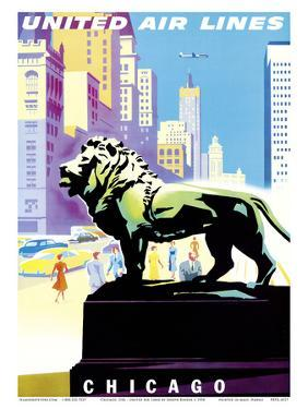 Chicago, USA - Bronze Lion Statues - Art Institute of Chicago - United Air Lines by Joseph Binder