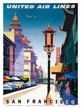San Francisco, USA - China Town - United Air Lines