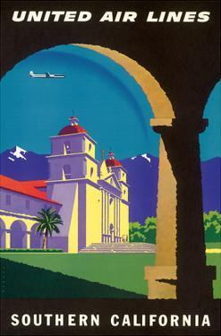 Southern California - Spanish Mission - United Air Lines by Joseph Binder
