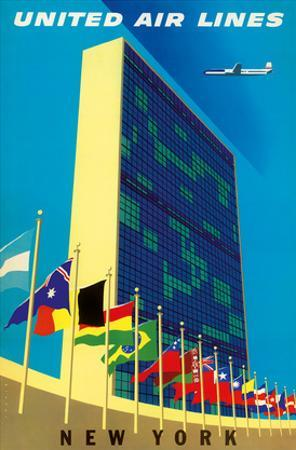 United Nations Building, New York - United Air Lines by Joseph Binder