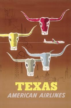 Texas - Longhorns - American Airlines by Joseph Charles Parker