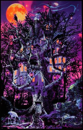 Opticz Treehouse Blacklight Poster by Joseph Charron