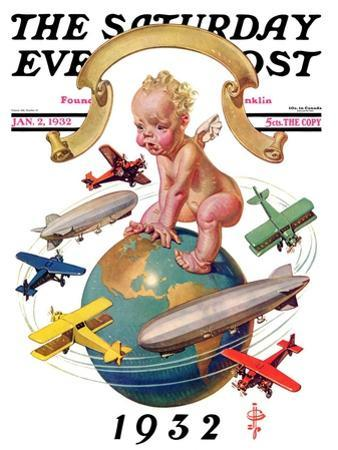 """""""Airships Circling Baby New Year,"""" Saturday Evening Post Cover, January 2, 1932 by Joseph Christian Leyendecker"""