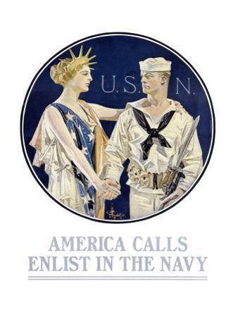 America Calls, Enlist in the Navy by Joseph Christian Leyendecker