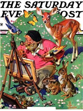 """""""Artist and Animals,"""" Saturday Evening Post Cover, May 26, 1934 by Joseph Christian Leyendecker"""