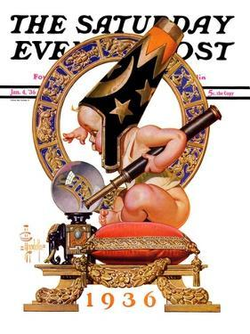 """""""Baby New Year and Crystal Ball,"""" Saturday Evening Post Cover, January 4, 1936 by Joseph Christian Leyendecker"""