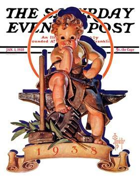 """""""Baby New Year at Forge,"""" Saturday Evening Post Cover, January 1, 1938 by Joseph Christian Leyendecker"""