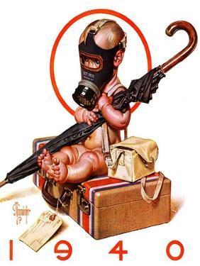 """Baby New Year Ready for War,""December 30, 1939 by Joseph Christian Leyendecker"