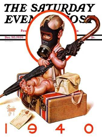 """""""Baby New Year Ready for War,"""" Saturday Evening Post Cover, December 30, 1939 by Joseph Christian Leyendecker"""