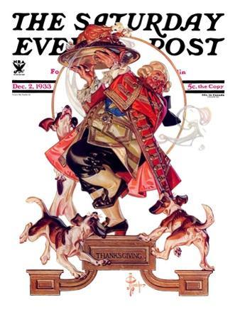 """Begging for Turkey,"" Saturday Evening Post Cover, December 2, 1933 by Joseph Christian Leyendecker"